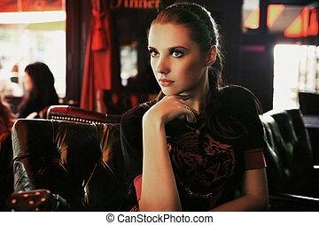 時裝, 藝術, 相片, ......的, an, 有吸引力, 年輕, 黑發淺黑膚色女子