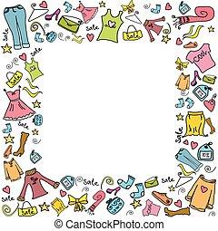 時裝, 購物, 框架, 銷售, 背景, 或者