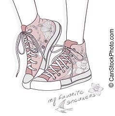 時裝, 鞋子, 背景