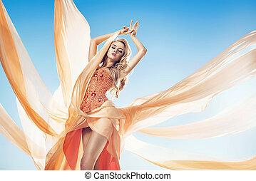 時裝, 風格, 相片, ......的, a, 美麗, 白膚金發碧眼的人, 婦女