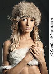 時裝, 風格, 相片, ......的, a, 美麗, 白膚金髮