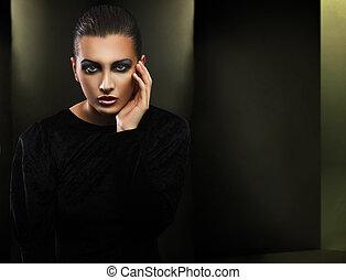 時裝, 風格, 相片, ......的, a, 美麗, 黑發淺黑膚色女子