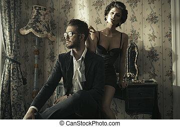 時裝, 風格, 相片, ......的, an, 有吸引力, 年輕夫婦