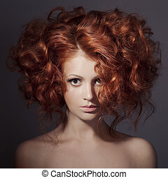 時裝, portrait., 美麗, woman., 卷曲, hair.