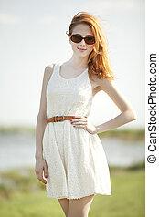 時裝, redhead, 女孩, 在, outdoor.