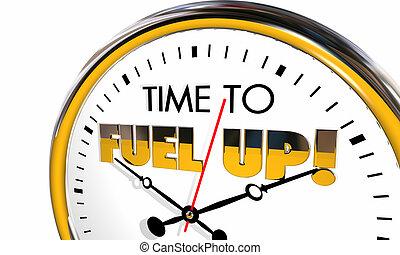 時計, の上, 時間, 燃料, 栄養, イラスト, 活気づけなさい, 食べなさい, 3d