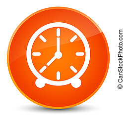 時計, アイコン, 優雅である, オレンジ, ラウンド, ボタン