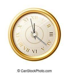 時計, ギリシャ語, ベクトル, 壁, 金, 数, 現実的