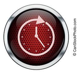 時計, ハチの巣, 赤, アイコン