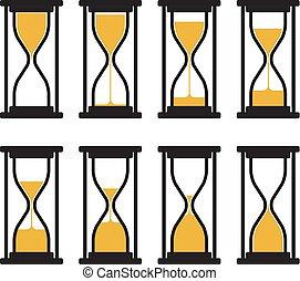 時計, ベクトル, シンボル, コレクション, 砂時計