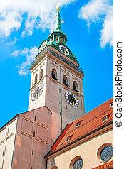 時計, ミュンヘン, st., 教会, タワー, ピーター