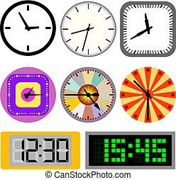 時計, 別, セット, 壁