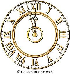 時計, 古い, 顔