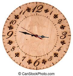 時計, 木製である, 隔離された, 壁, 背景, 白