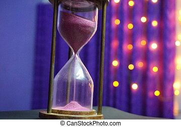 時計, 紫色, ライト, 砂, bokeh, 背景