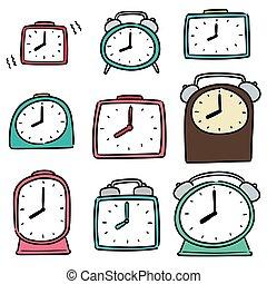 時計, 警報, ベクトル, セット