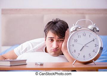 時計, 警報, 不眠症, ベッド, 苦しみ, 失望させられた, 人