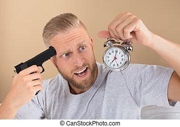 時計, 警報, 銃, 保有物, 怒る, 人