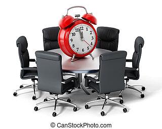 時計, 警報, 隔離された, イラスト, バックグラウンド。, テーブル, 白, ラウンド, 赤, 3d