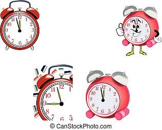 時計, 赤, ringtone, 警報, 呼び鈴