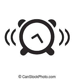 時計, 隔離された, ベクトル, 黒い背景, 白, アイコン