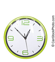 時計, 隔離された, 緑, レトロ, 背景, 白