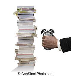 時計, books., 急に動かなくなる, 手, 警報, 人, 山, 変形