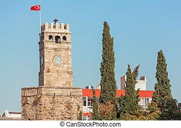 時計, saat, kulesi., aincient, タワー, turkey., antalya