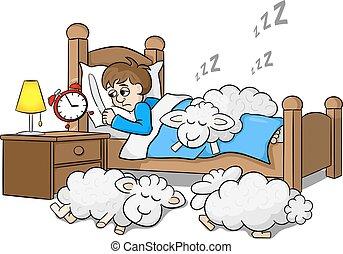 時計, sleepless, の上, 航跡, 朝, 警報, 人