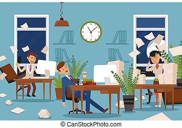 時間外労働, 睡眠, asleep., 問題, 特徴, 仕事, stayed, 女性, 疲れた, オフィス, ベクトル...