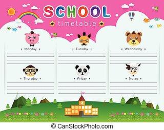 時間表, 學校, 矢量, 插圖