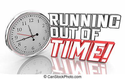 時間, イラスト, 期限, 時計, 言葉, から, 下方に, 動くこと, カチカチ音をたてること, 3d