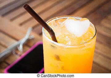 時間, オレンジジュース, 新たに, 壊れなさい, 凍らされる