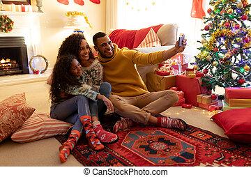 時間, クリスマス, 家 家族