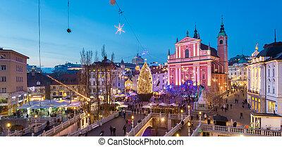 時間, クリスマス, slovenia., ljubljana