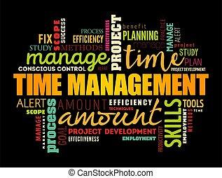 時間, コラージュ, 単語, 雲, 管理
