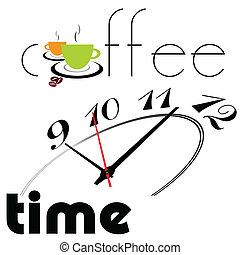 時間, コーヒー, illustrati, 2, カップ