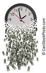 時間, ドル。, お金。, 時計, ばらばらに壊れる
