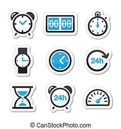 時間, ベクトル, セット, 時計, アイコン