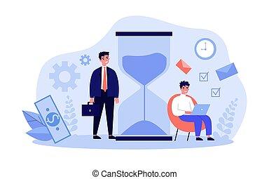 時間, 下記, テーブル, 時間, businesspeople, ガラス