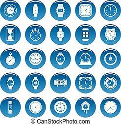 時間, 以及, 鐘, 矢量, 圖象, 集合, 藍色, 簡單, 風格