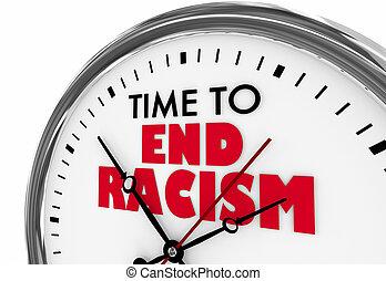時間, 到, 結束, 種族主義, 歧視, 鐘, 詞, 3d, 插圖