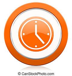 時間, 印, オレンジ, アイコン, 腕時計