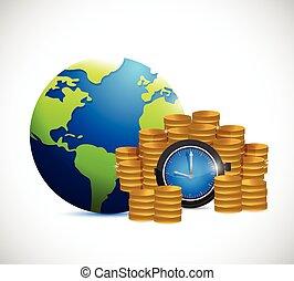 時間, 地球, お金, のまわり