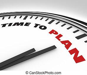 時間, 對 計劃, -, 鐘, 由于, 詞