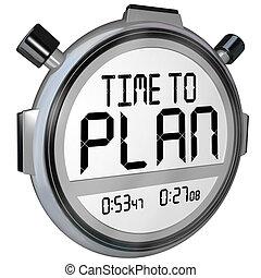 時間, 對 計劃, stopwatch, 定時器, 詞, 戰略, 成功