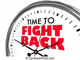 時間, 戰斗, 背, 抗議, 鐘, 詞, 3d, 插圖