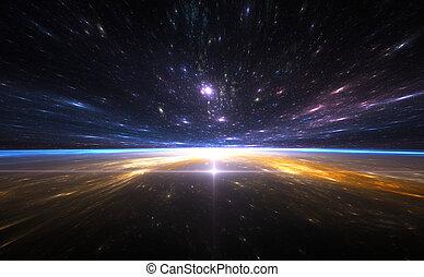 時間, 旅行, space., 反り
