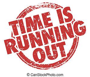 時間, 是, 跑, 在外, 行動, 現在, 詞, 郵票, 插圖