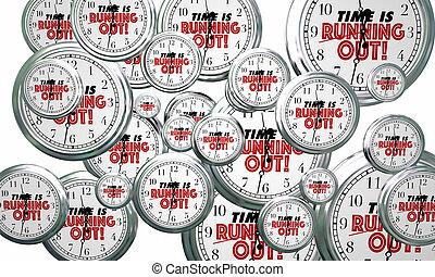 時間, 是, 跑, 在外, clocks, 飛行, 所作, 最終期限, 提醒者, 3d, 插圖